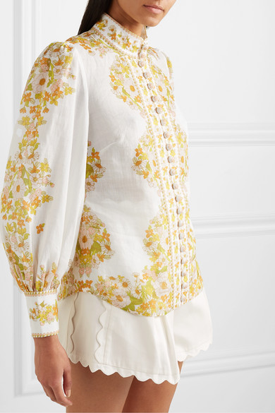 Super Eight Floral Print Ramie Blouse by Zimmermann