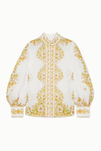 Zimmermann Tops Super Eight floral-print ramie blouse