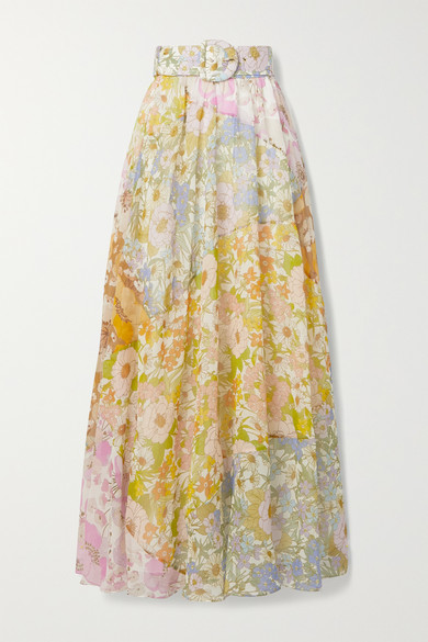 Zimmermann Skirts Super Eight belted floral-print cotton and silk-blend voile maxi skirt