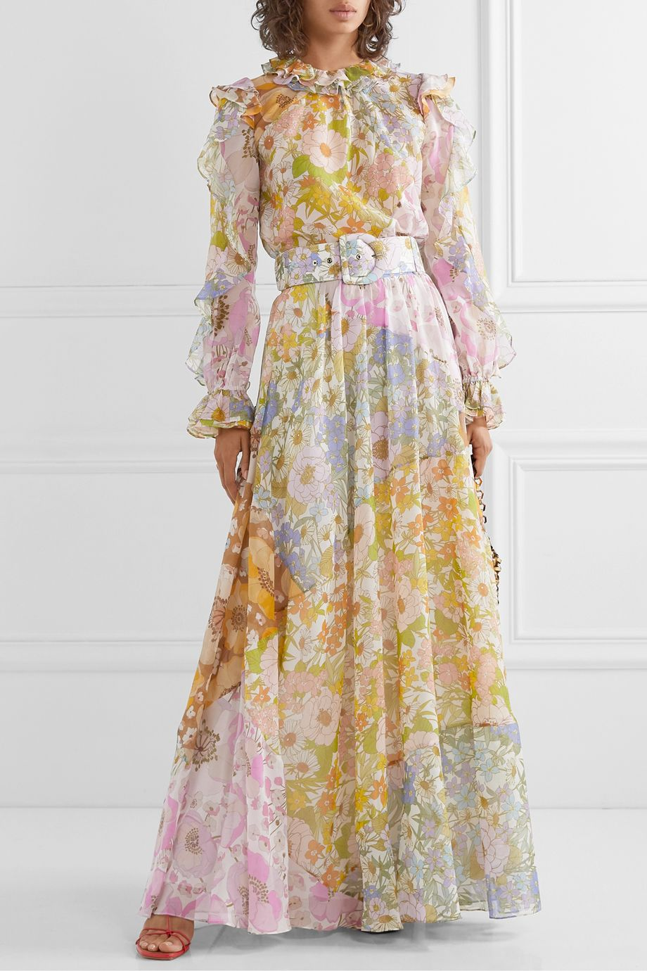 Zimmermann Super Eight belted floral-print cotton and silk-blend voile maxi skirt
