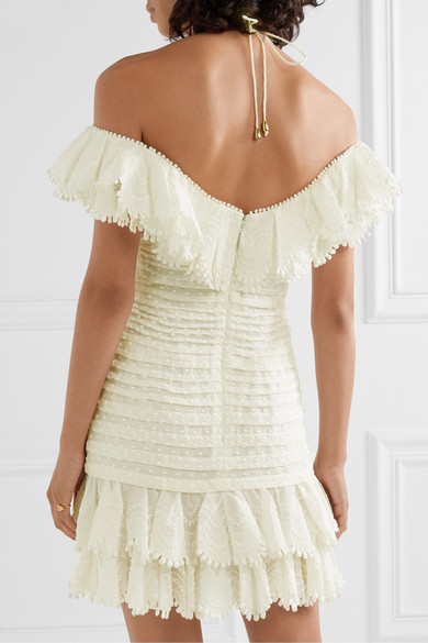Super Eight Off The Shoulder Ruffled Pleated Linen And Silk Blend Mini Dress by Zimmermann