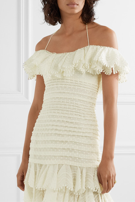 Super Eight off-the-shoulder ruffled pleated linen and silk-blend mini dress