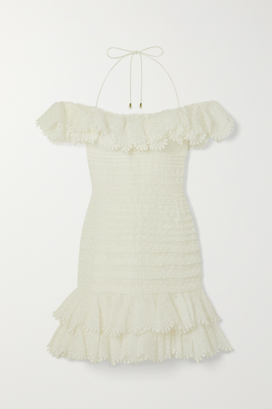 Zimmermann Super Eight off-the-shoulder ruffled pleated linen and silk-blend mini dress