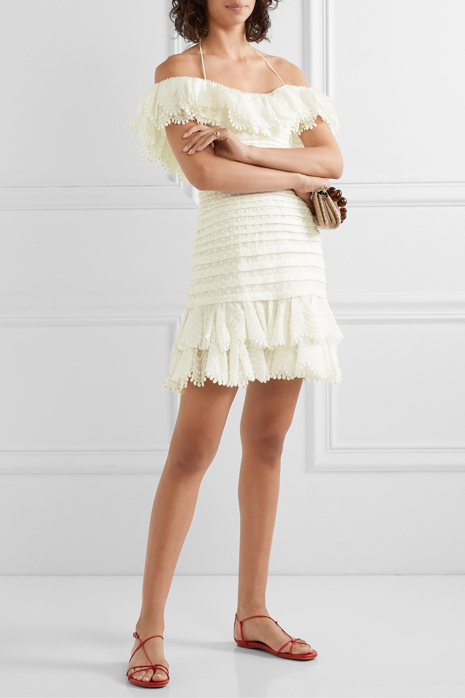 Zimmermann Super Eight schulterfreies Minikleid aus einer Leinen-Seidenmischung mit Falten und Rüschen