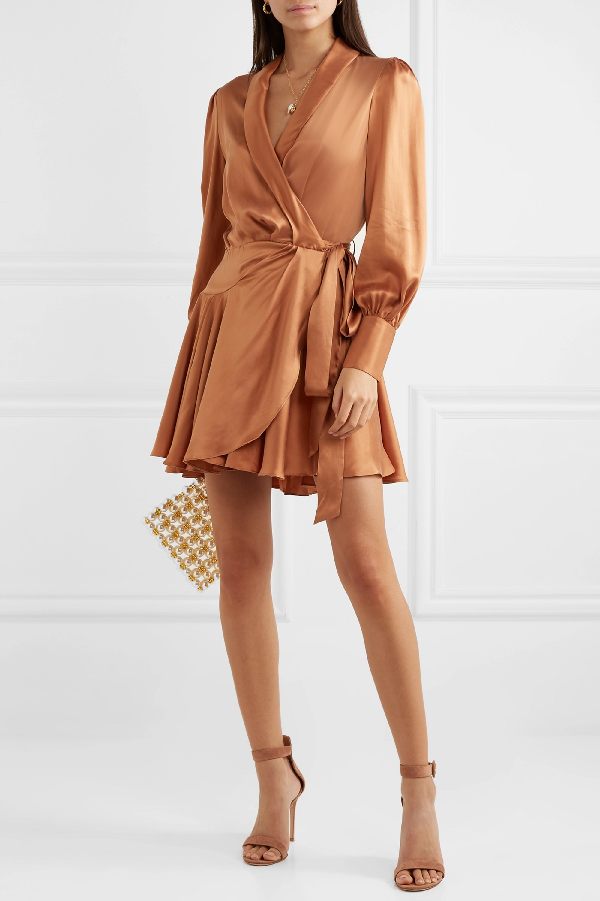 Zimmermann Super Eight Silk wrap mini dress
