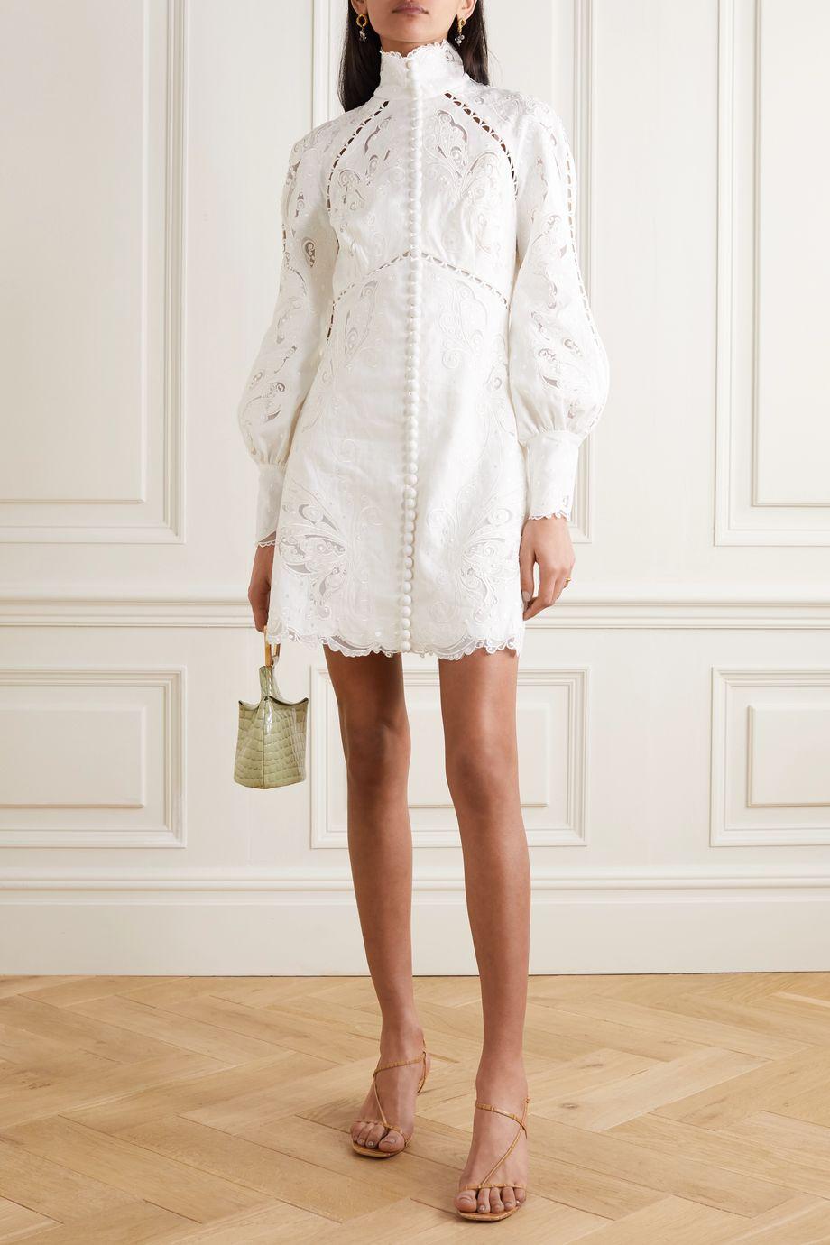 Zimmermann Super Eight tulle-trimmed broderie anglaise linen mini dress