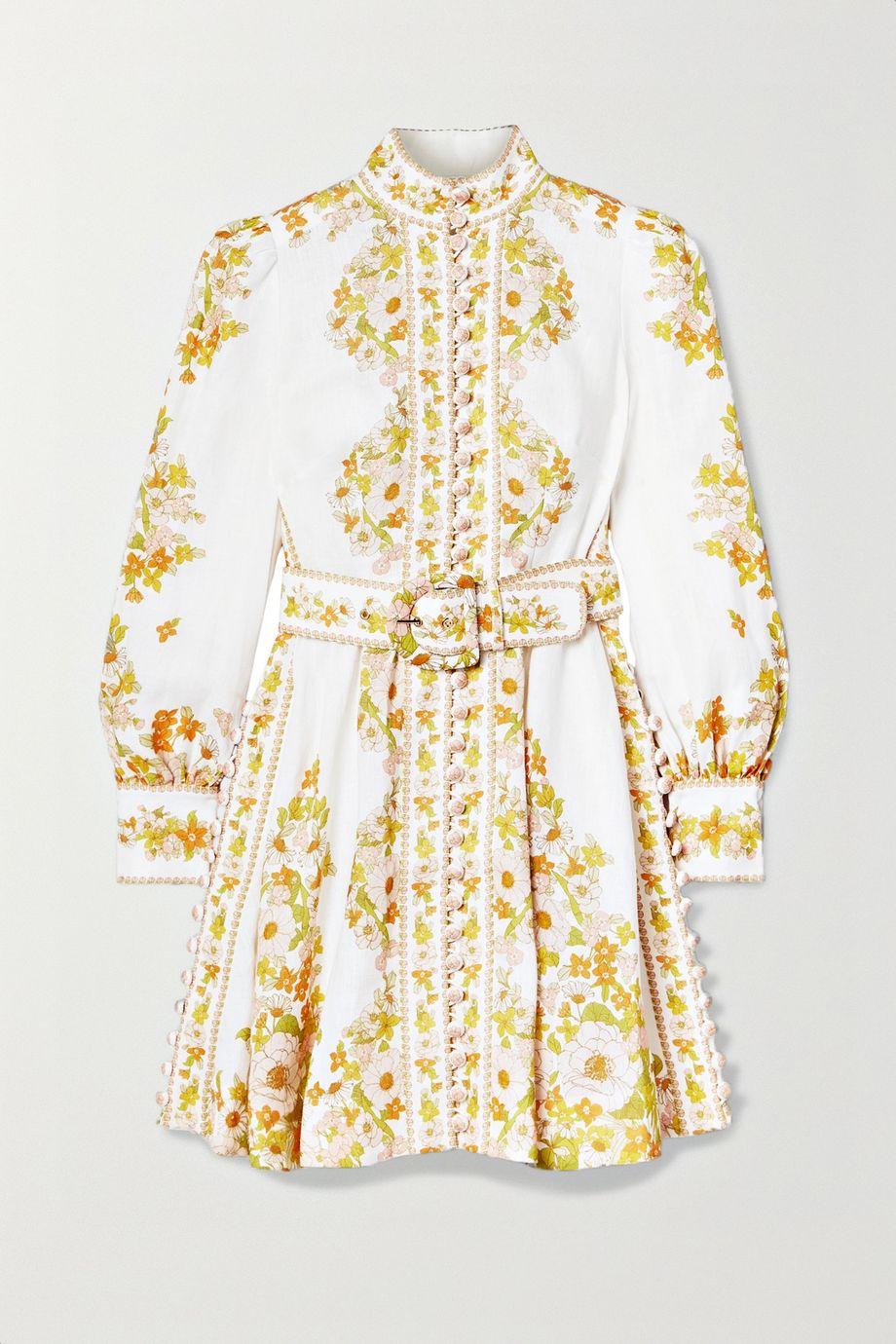 Zimmermann Super Eight Minikleid aus Leinen mit Blumenprint und Gürtel