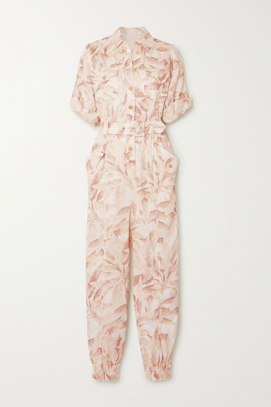 Zimmermann Super Eight belted printed linen jumpsuit