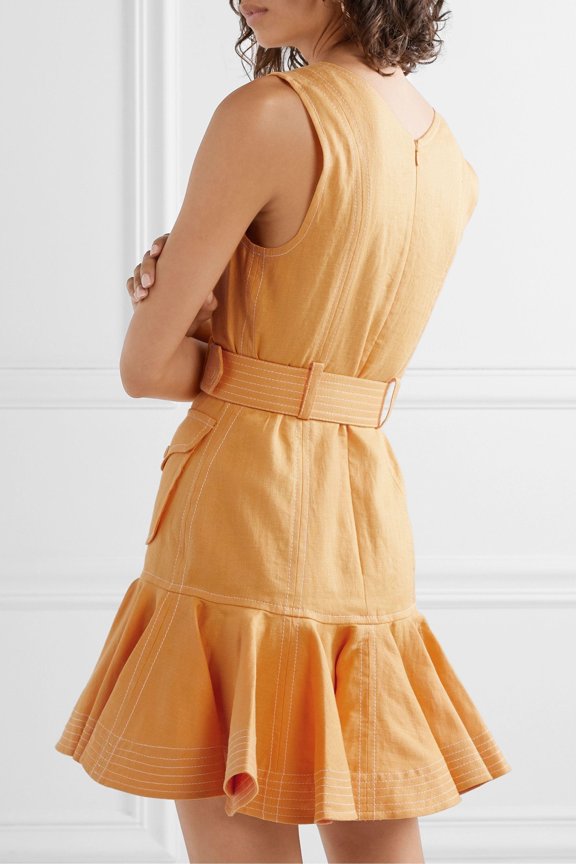 Zimmermann Super Eight Minikleid aus Leinen mit Gürtel und Stufe