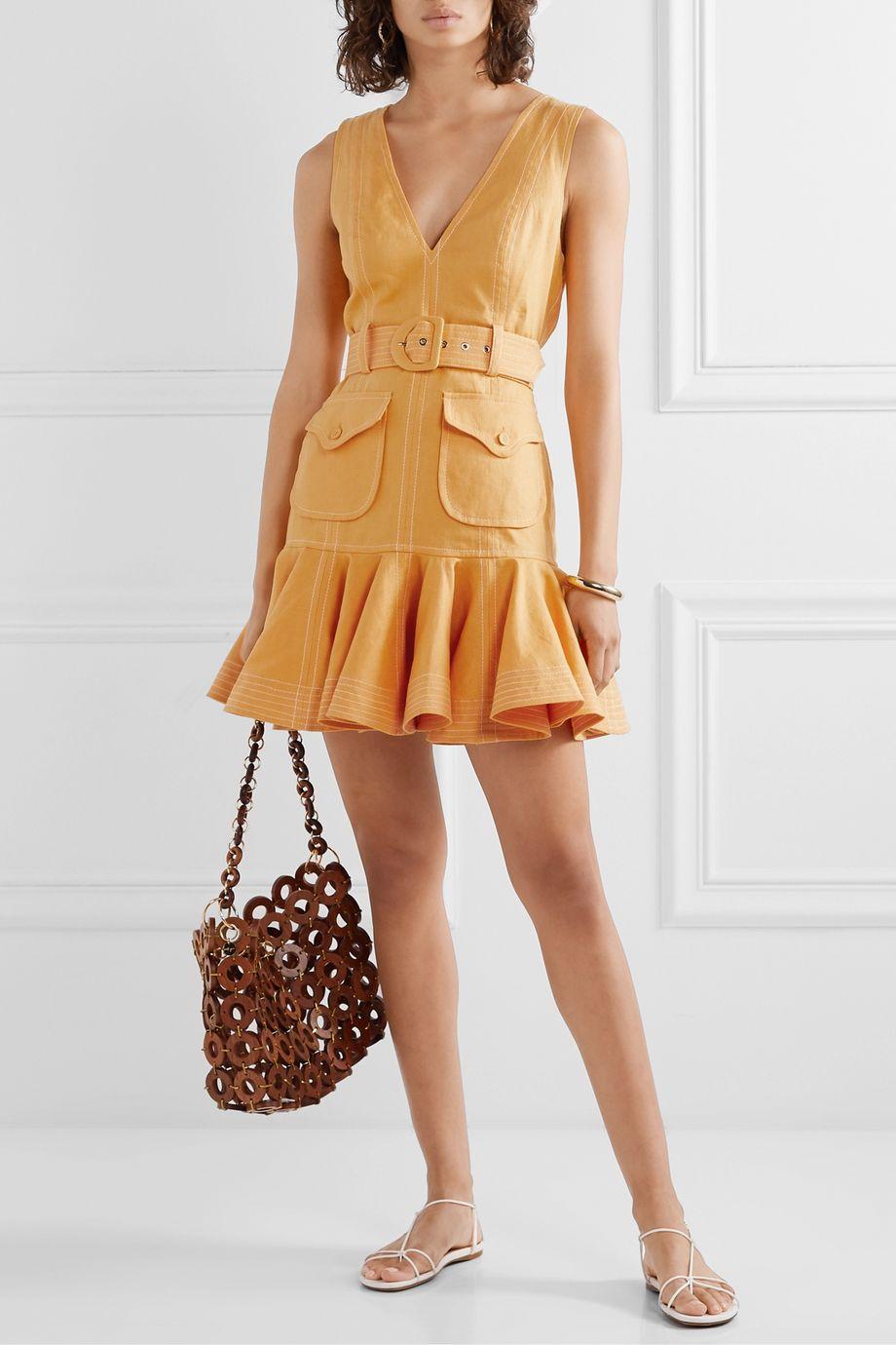 Zimmermann Mini-robe en lin à volants et à ceinture Super Eight
