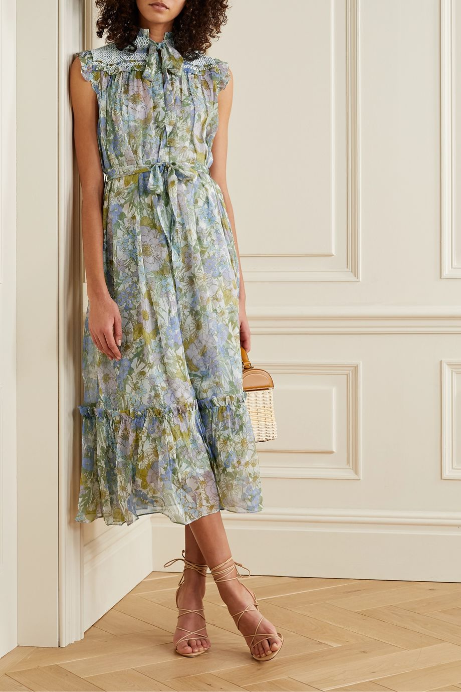 Zimmermann Super Eight crochet-trimmed floral-print silk-chiffon midi dress