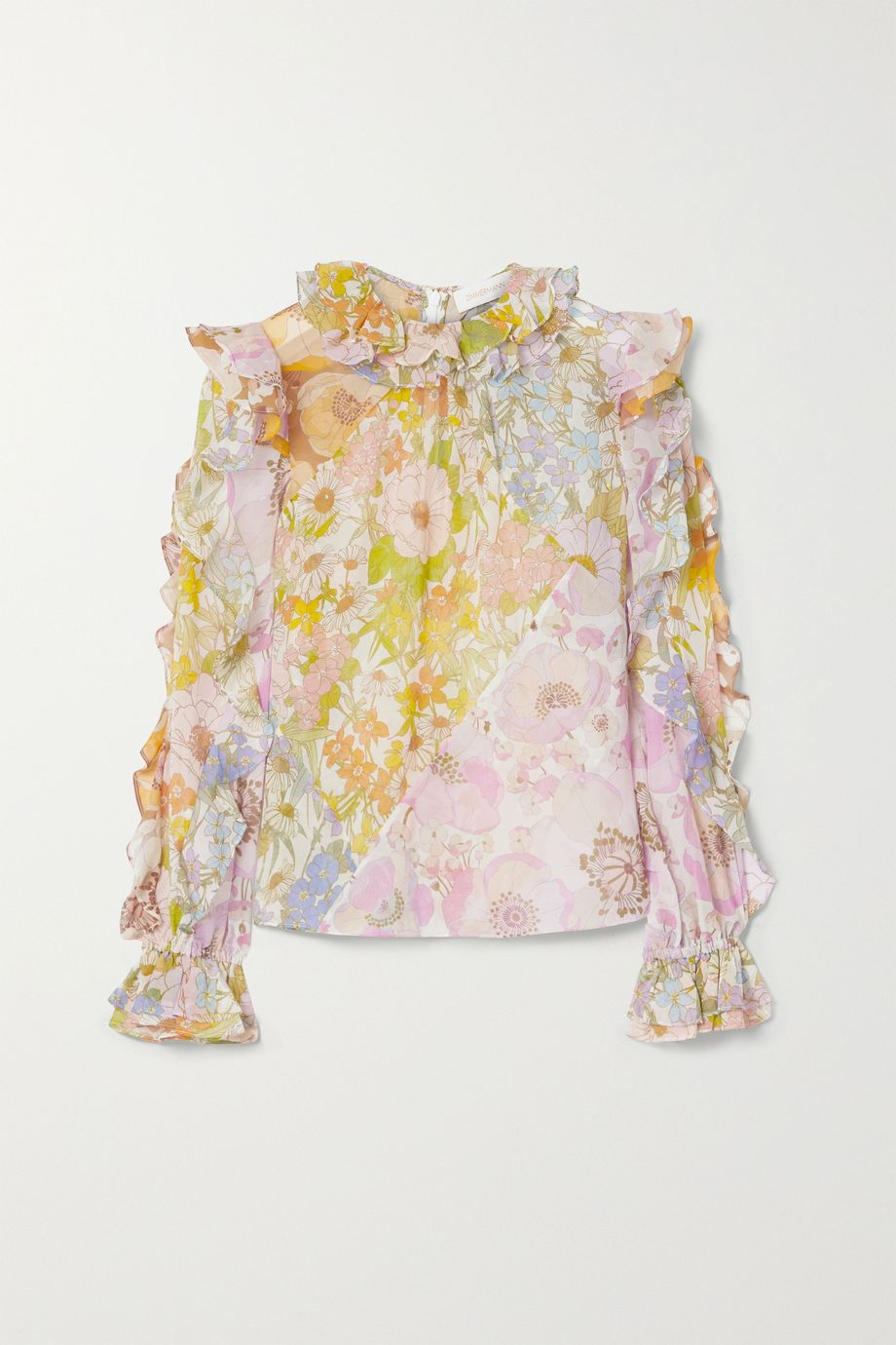 Zimmermann Super Eight ruffled floral-print cotton and silk-blend voile top