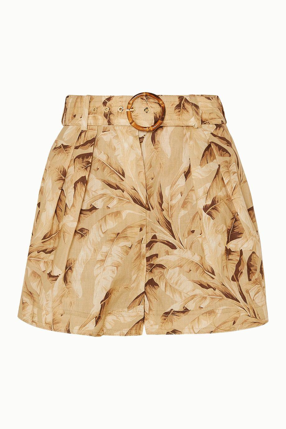 Zimmermann Super Eight belted printed linen shorts