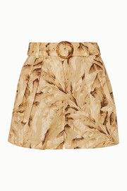 Zimmermann Short en lin imprimé à ceinture Super Eight