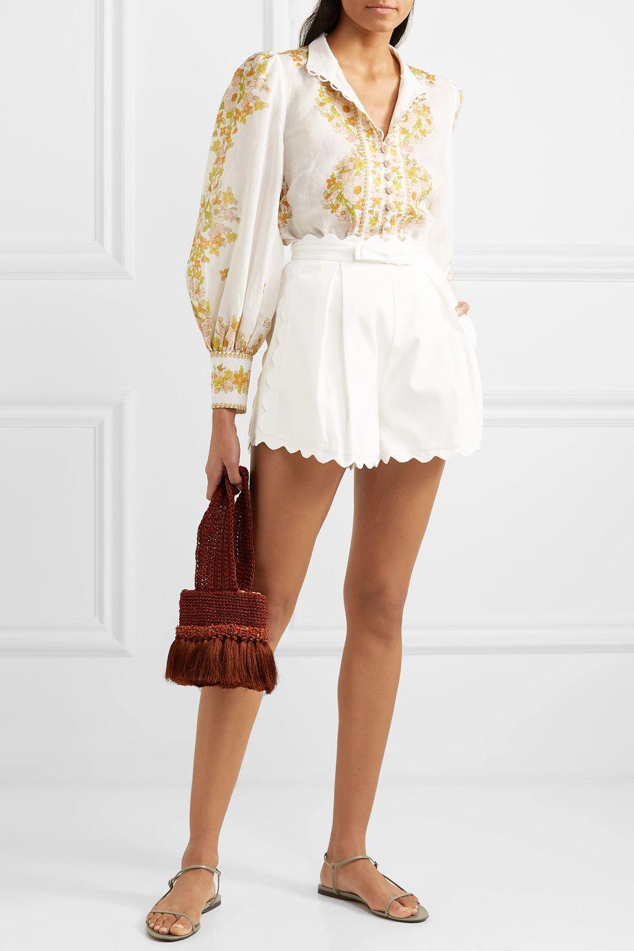 Zimmermann Super Eight scalloped pleated cotton-piqué shorts
