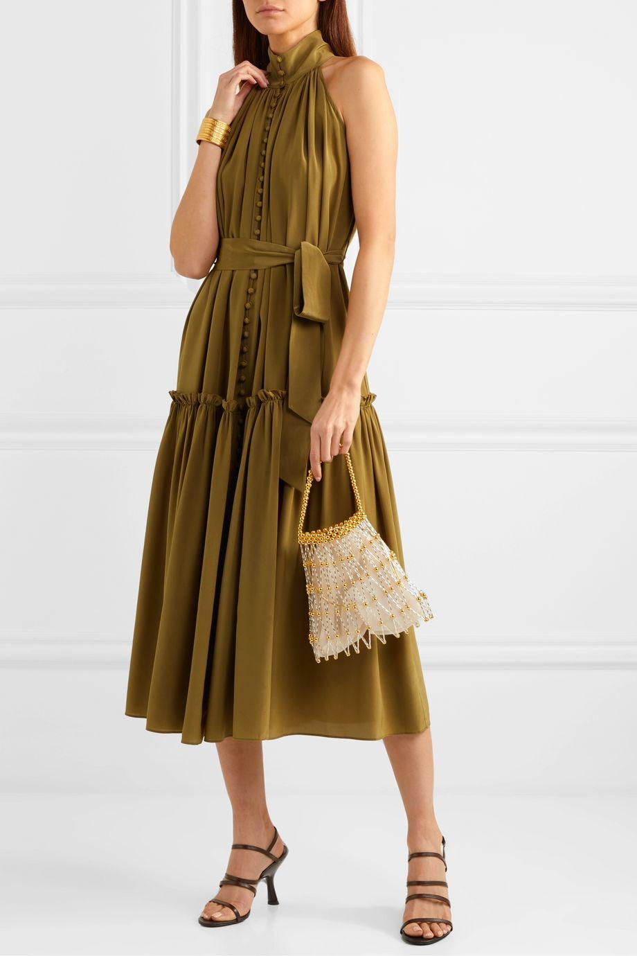 Zimmermann Super Eight tiered silk crepe de chine midi dress