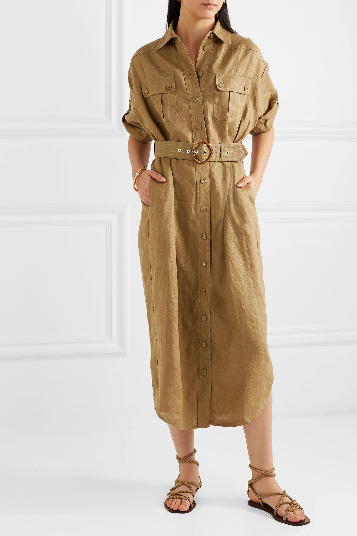 Zimmermann Super Eight belted linen midi dress