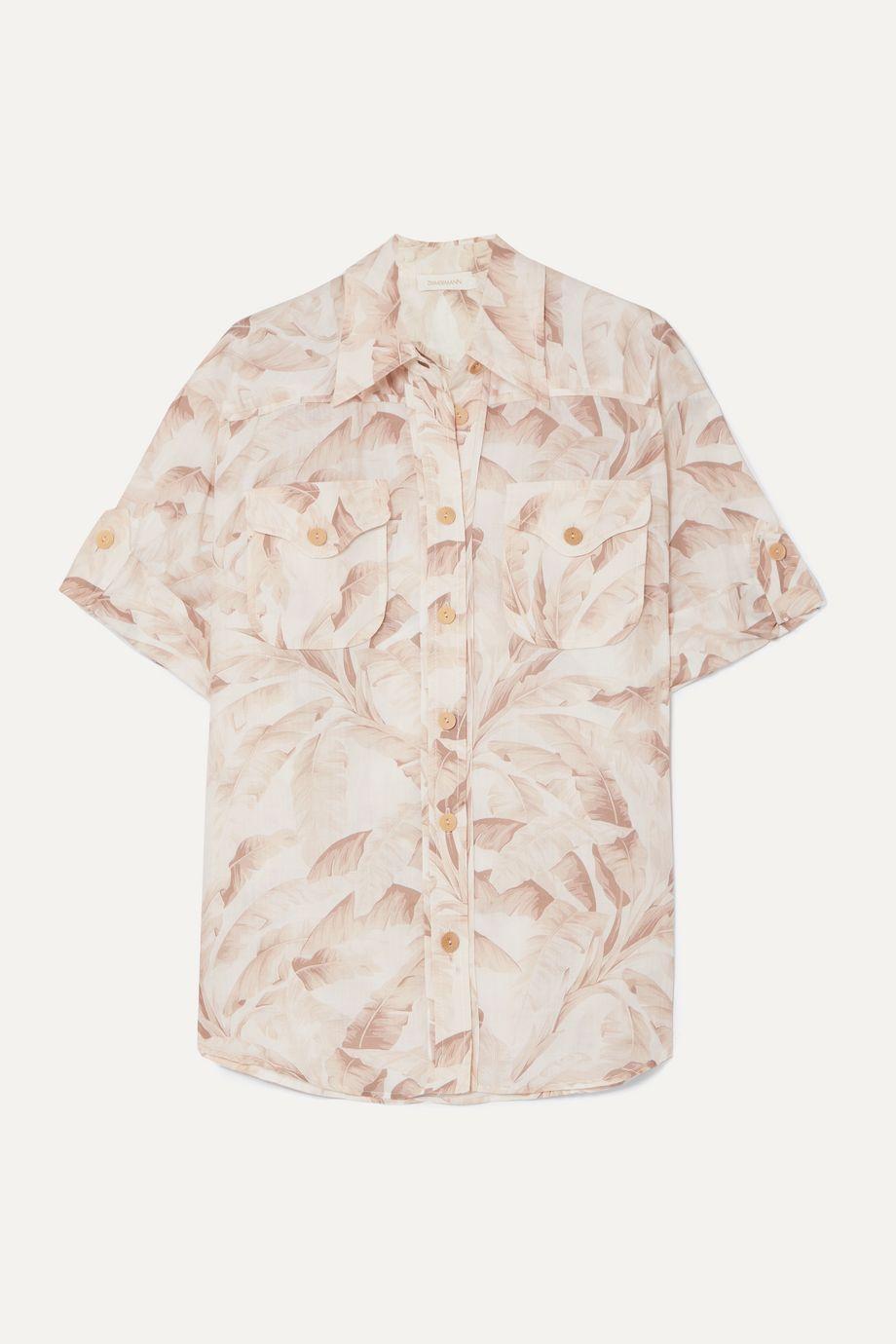 Zimmermann Super Eight printed ramie shirt