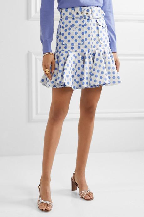 Super Eight Safari belted ruffled polka-dot linen mini skirt