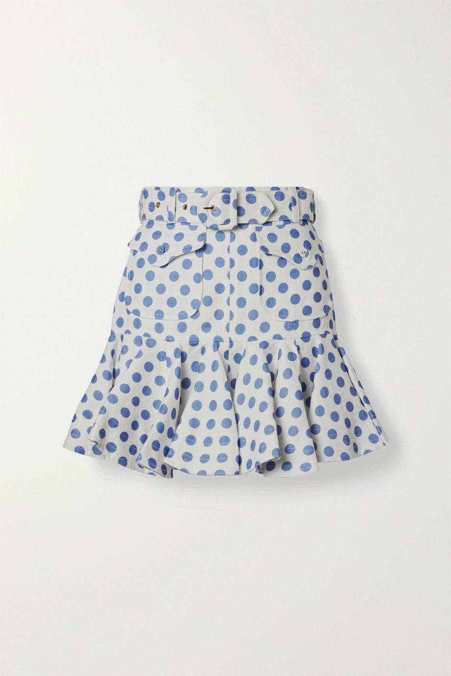 Zimmermann Super Eight Safari belted ruffled polka-dot linen mini skirt