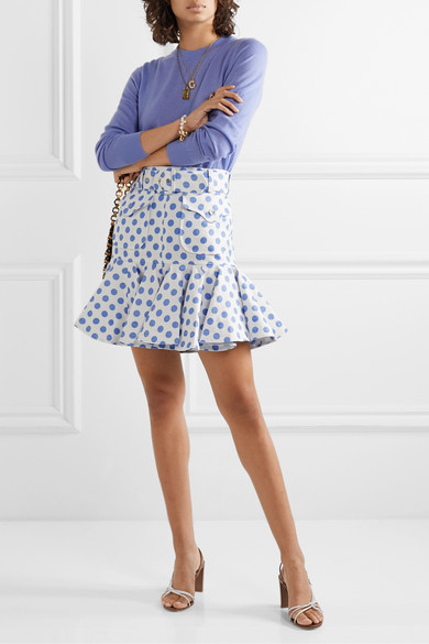 Super Eight Safari Belted Ruffled Polka Dot Linen Mini Skirt by Zimmermann
