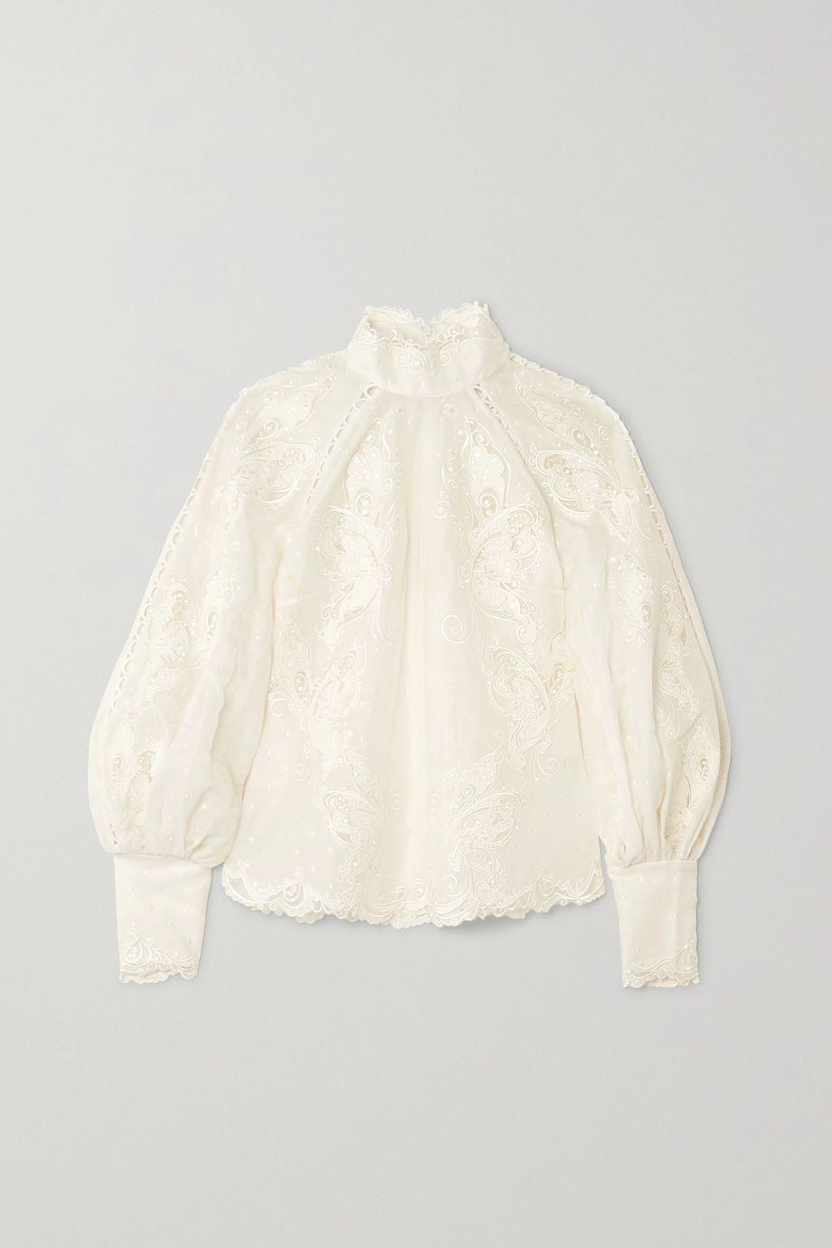 Zimmermann Super Eight embroidered linen and silk-blend blouse
