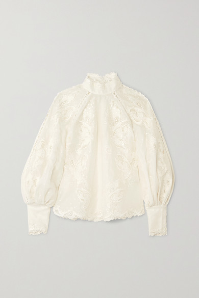 Super Eight Embroidered Linen And Silk Blend Blouse by Zimmermann