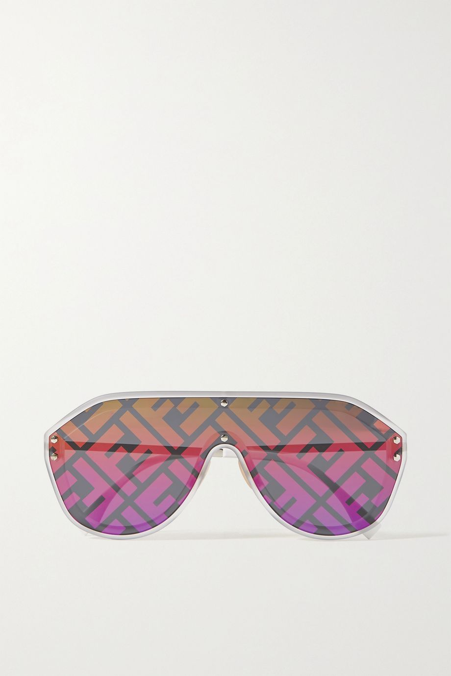 Fendi Oversized aviator-style silver-tone and acetate mirrored sunglasses