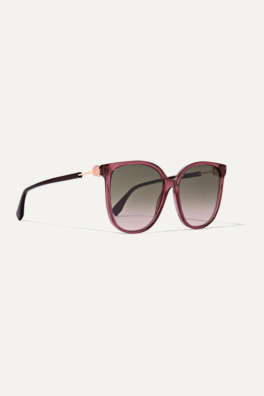 Fendi Square-frame acetate and gold-tone sunglasses