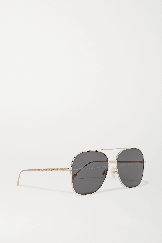 Fendi Aviator-style gold-tone sunglasses
