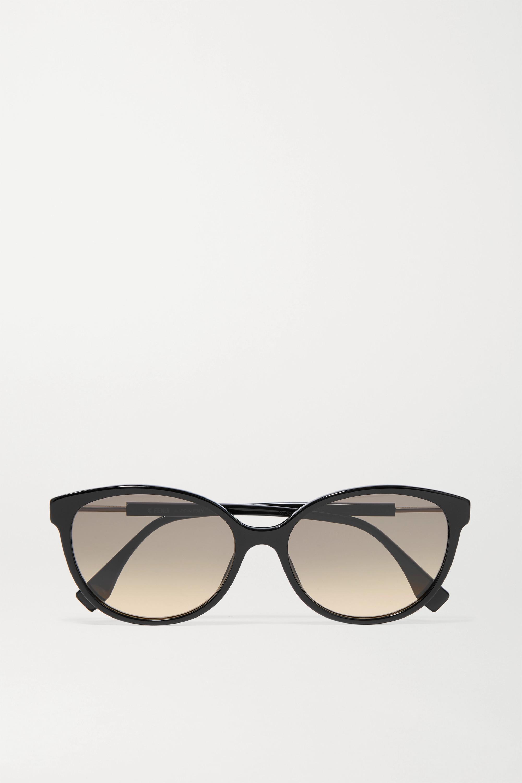 Fendi Round-frame acetate and silver-tone sunglasses