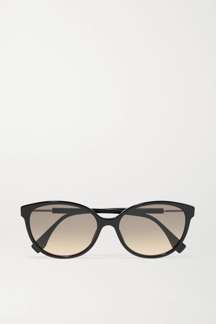 Fendi Round-frame acetate and silver-tone sunglasses