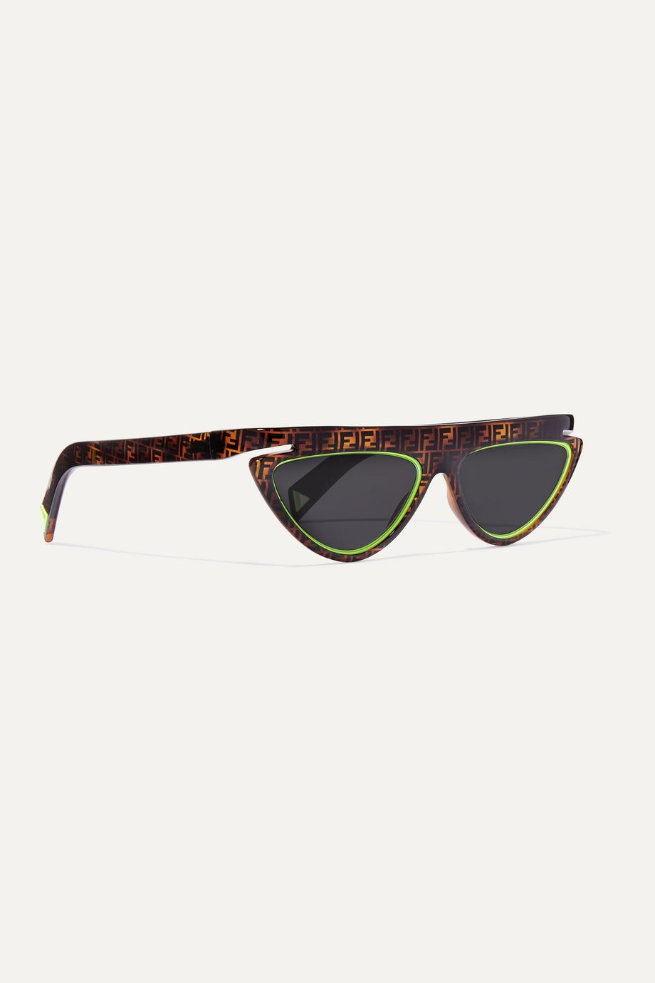 Fendi Cat-eye neon-trimmed printed tortoisehell acetate sunglasses