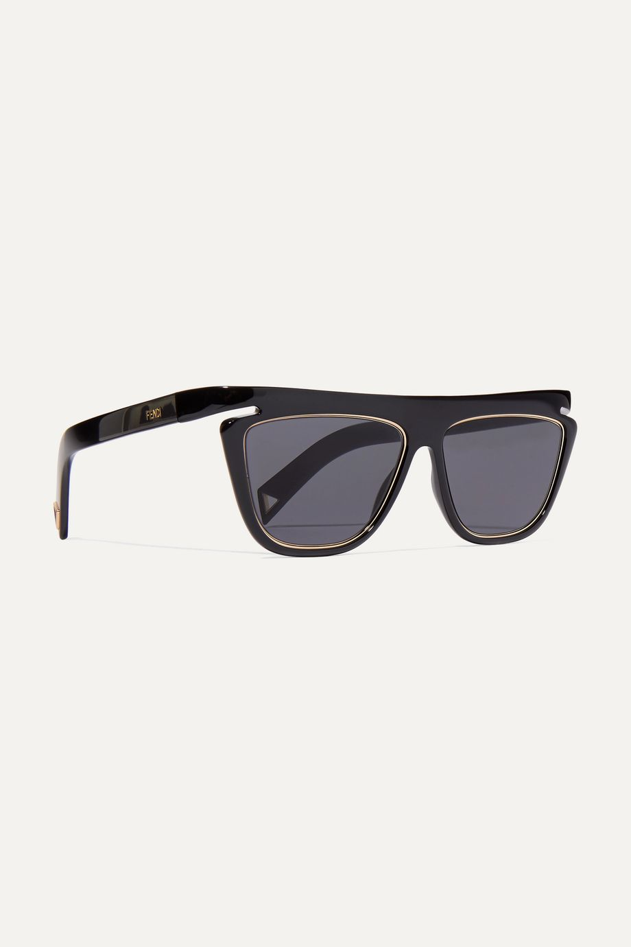 Fendi D-frame acetate and gold-tone sunglasses