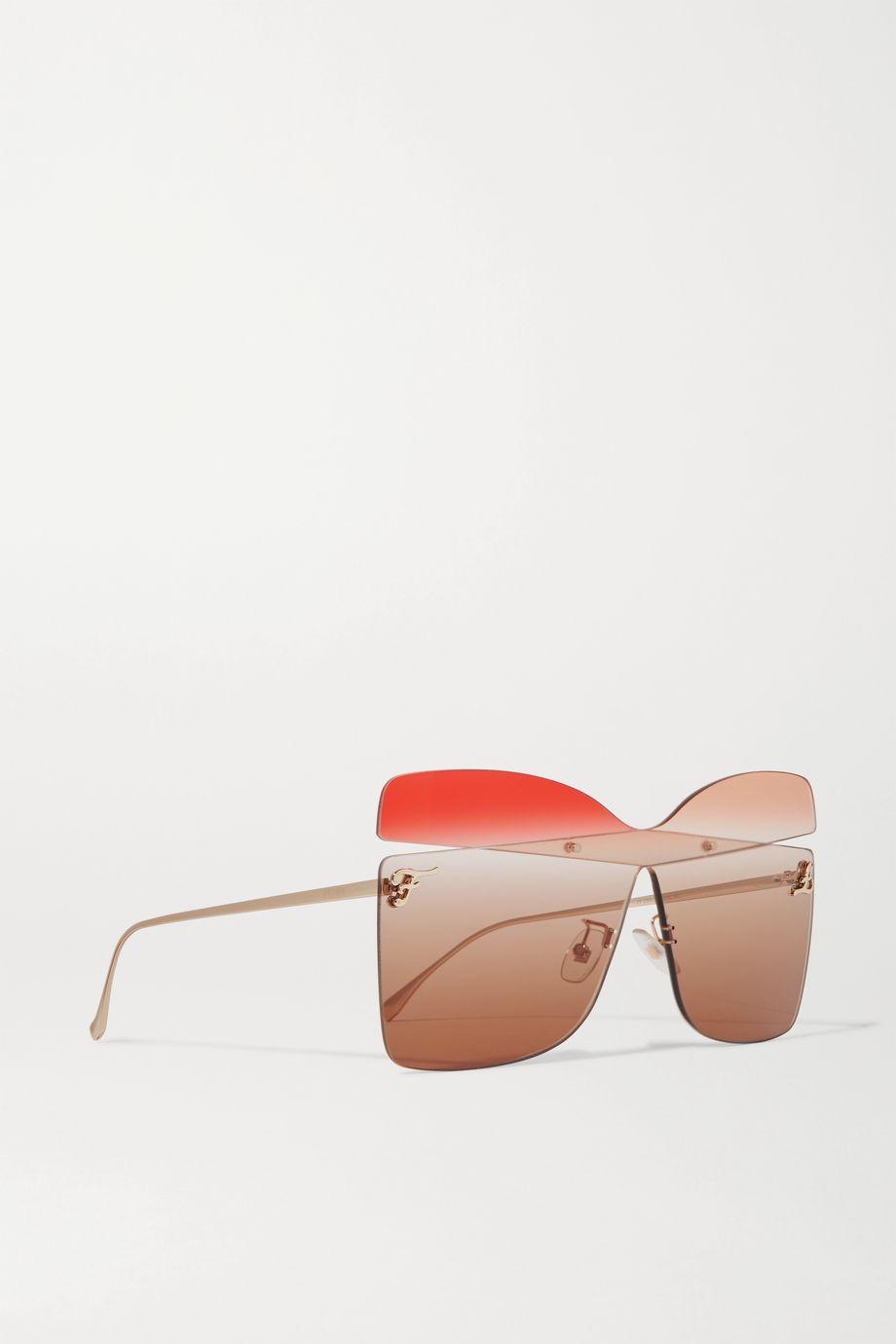 Fendi Oversized square-frame gold-tone sunglasses