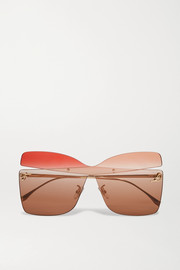 Oversized square-frame gold-tone sunglasses