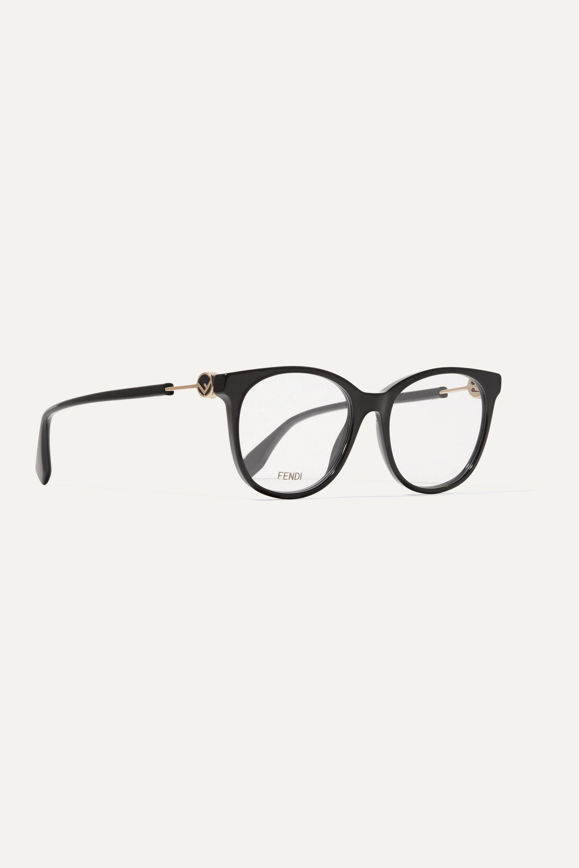 Fendi Round-frame acetate and gold-tone optical glasses