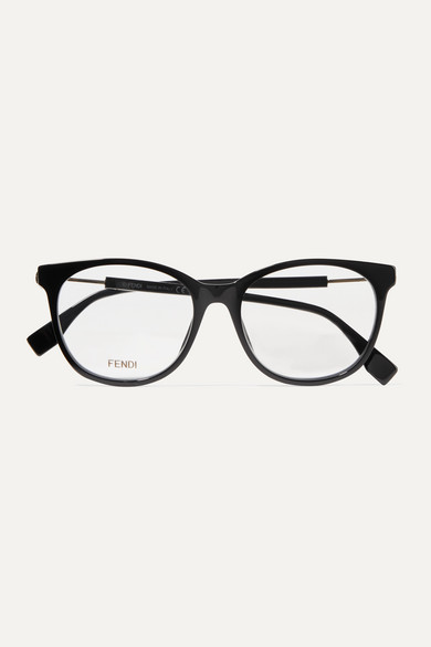 Round Frame Acetate And Gold Tone Optical Glasses by Fendi