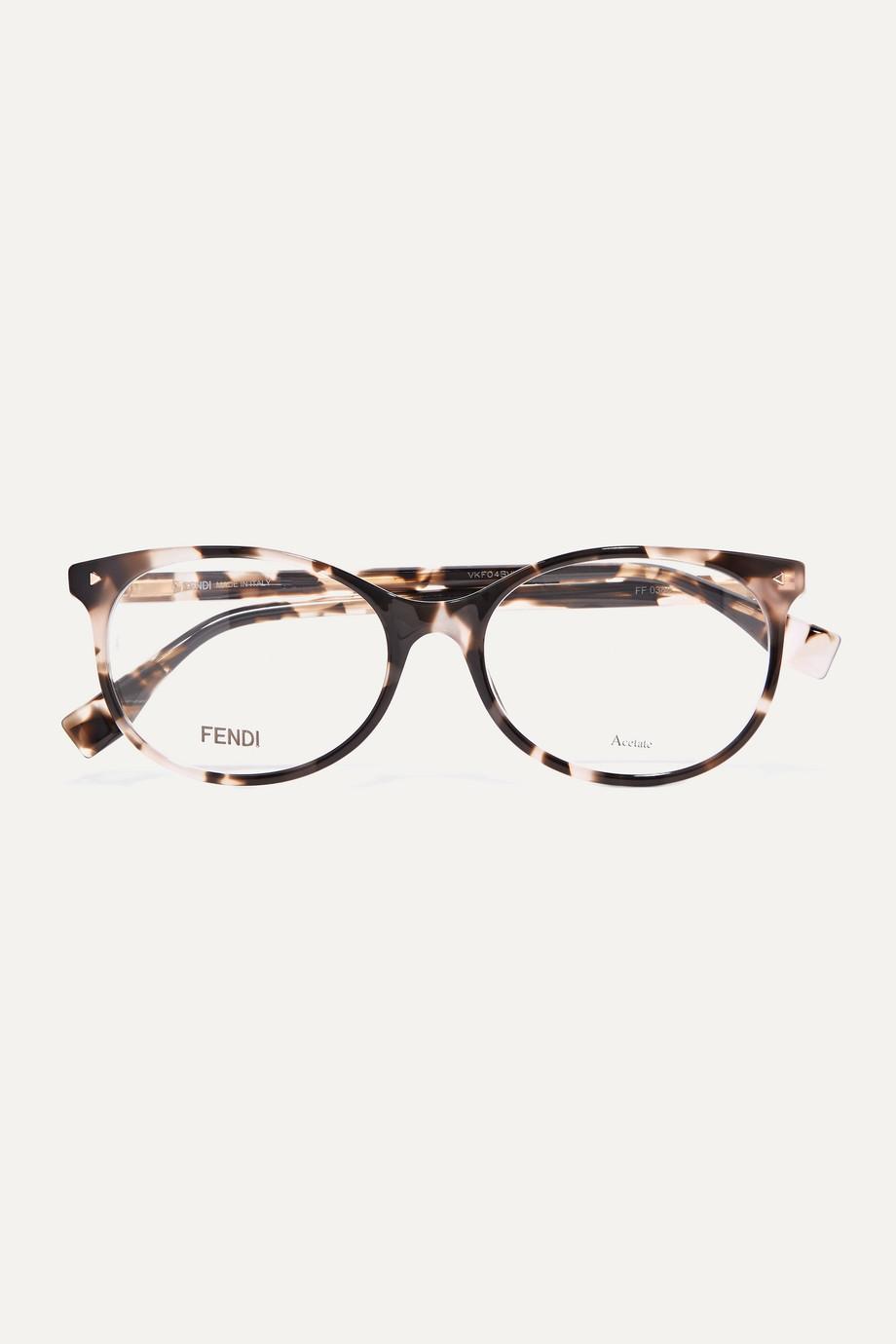 Fendi Round-frame tortoiseshell acetate optical glasses