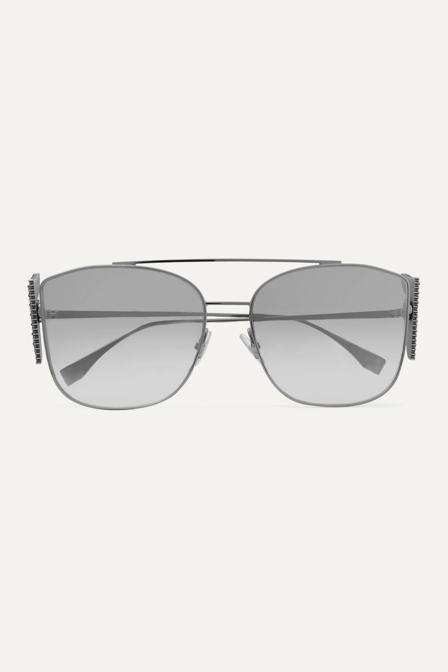 Fendi Crystal-embellished aviator-style silver-tone sunglasses