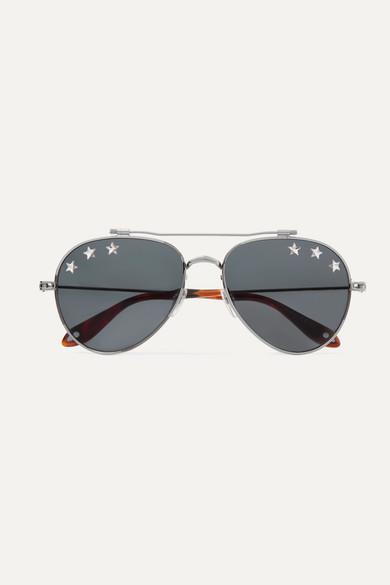 Givenchy Sunglasses Embellished aviator-style silver-tone sunglasses