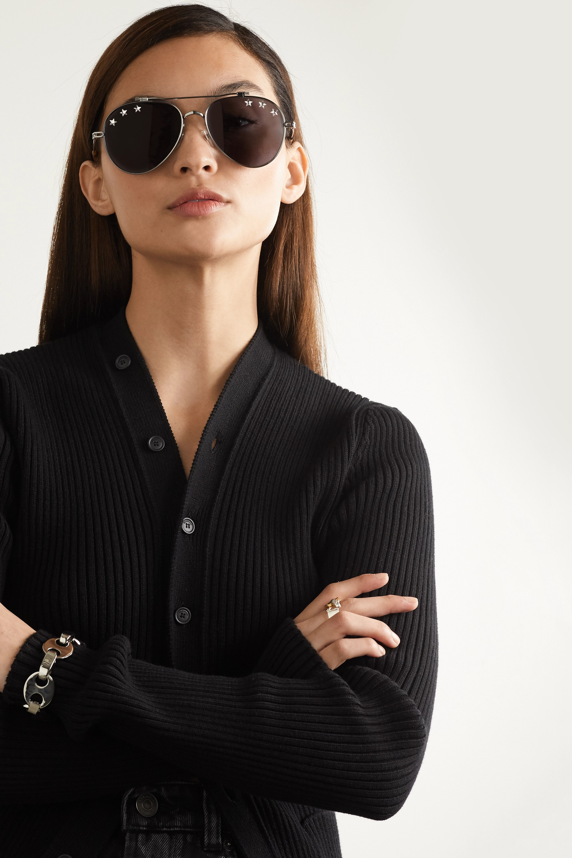 Givenchy Embellished aviator-style silver-tone sunglasses