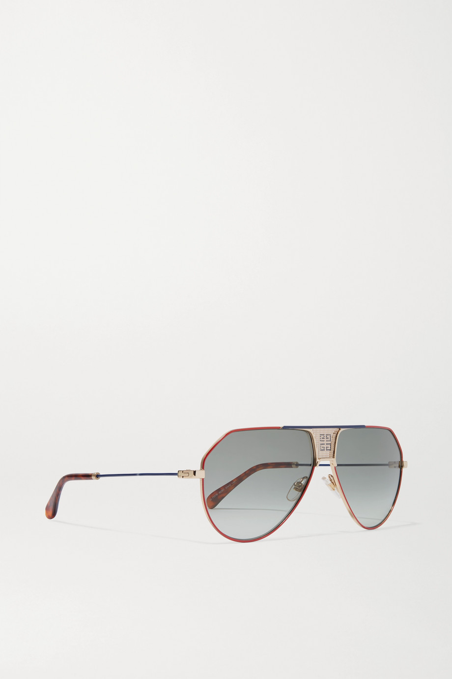 Givenchy Oversized aviator-style metal and tortoiseshell acetate sunglasses