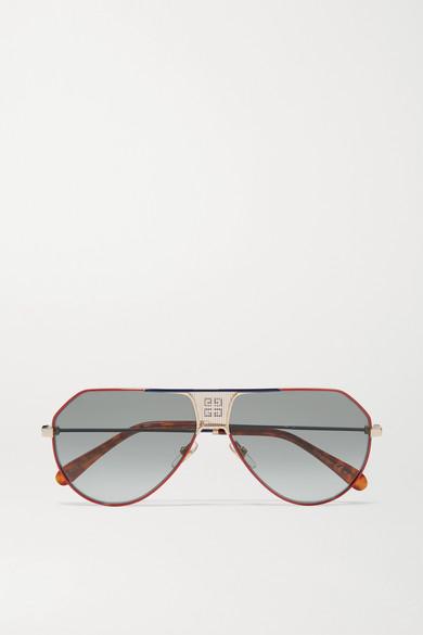Givenchy Sunglasses Oversized aviator-style metal and tortoiseshell acetate sunglasses