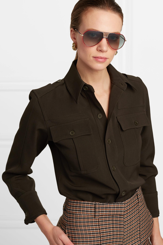 Givenchy Oversized aviator-style metal and tortoiseshell acetate sunglasses