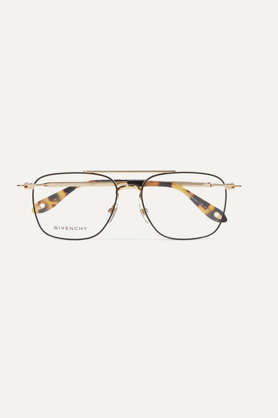 Givenchy Glasses Aviator-style gold-tone and tortoiseshell acetate optical glasses
