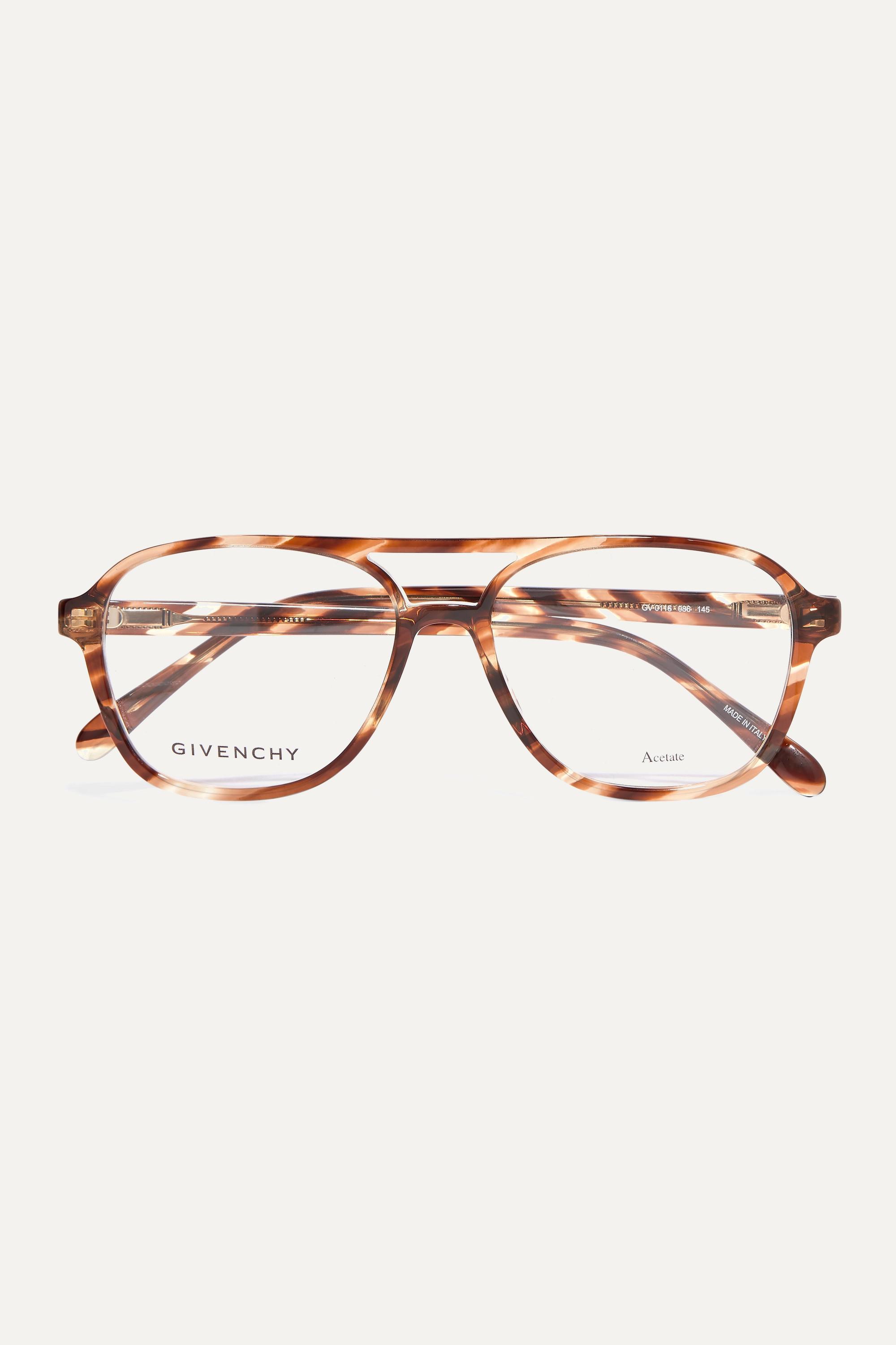 Givenchy Aviator-style tortoiseshell acetate optical glasses