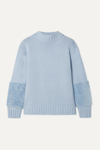 Sally Lapointe Sweaters SHEARLING-TRIMMED MERINO WOOL AND CASHMERE-BLEND SWEATER