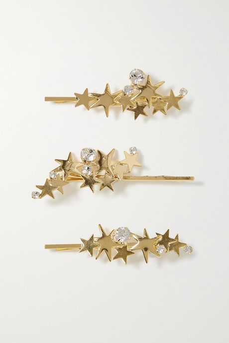 Gold Modern Stars set of three gold-tone crystal hair slides | LELET NY HH523U