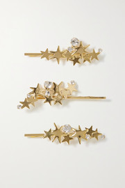 Modern Stars set of three gold-tone crystal hair slides
